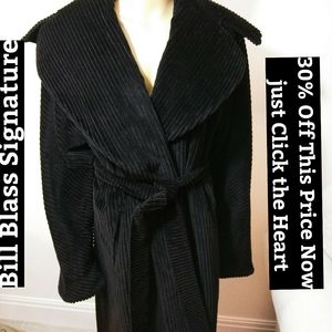Bill Blass Signature Black Wool Royal Robe Sz Lg
